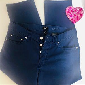 H&M- Button fly/ Slim fit cotton pants.